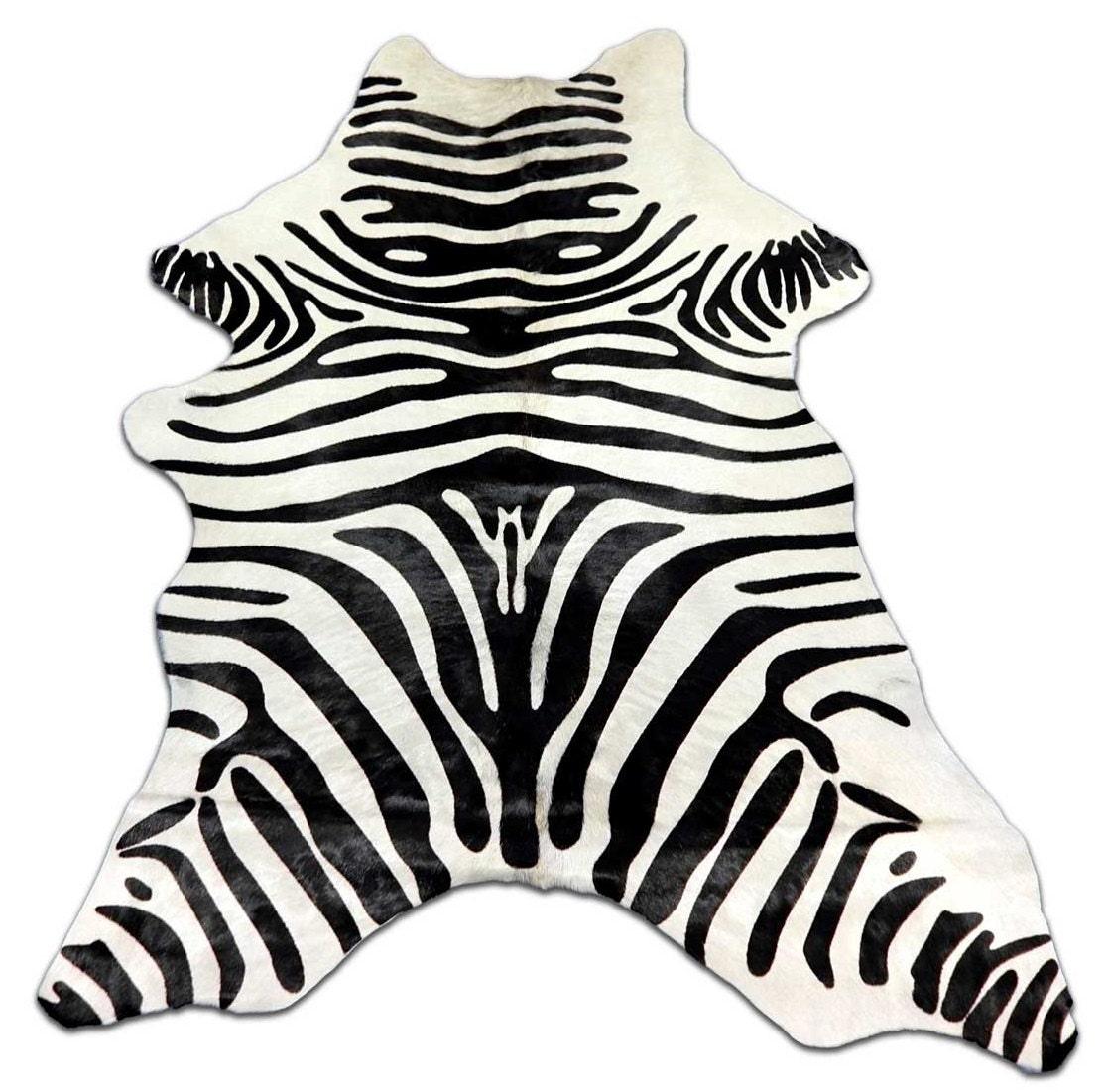Zebra Cowhide Rug Mini Zebra Calfskin Approximate Size:
