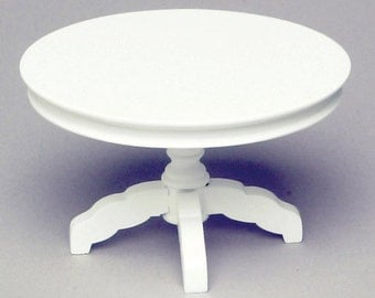 DOLLHOUSE MINIATURE 1:12 SCALE White Round Table #CL10776