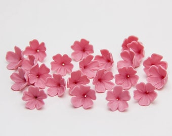 20 pink polymer clay small flowers, polymer clay flower bead flowers 9-10mm