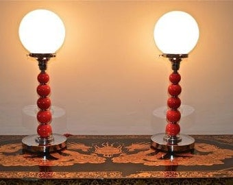A stunning pair of Art Deco snooker ball lamps 1