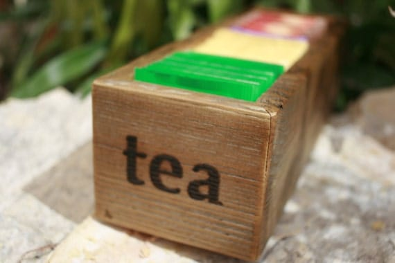 tea bag holder organizer container box reclaimed by signshack. Black Bedroom Furniture Sets. Home Design Ideas