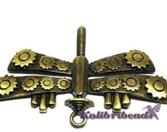1x Large Steampunk Dragonfly Pendant 63 mm - Antique Gold