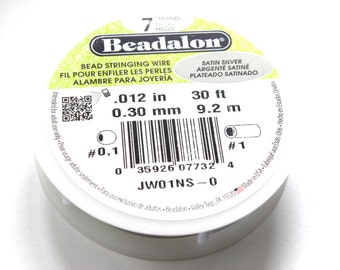 "1x 9.2 m Beadalon 7 Strand Bead Stringing Wire 0.30mm (.012"") - Satin Silver"