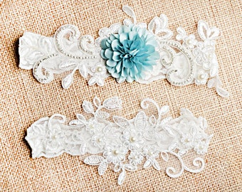 Bridal Garter Set, Wedding Garter, Something Blue Garter Set