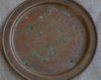 Old copper dish, old copper tray, old italian copper, copper platter, vintage copper kitchenware, vintage copper dish, small copper tray