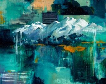 Art print, Mountain print, Wall art, mountain art, mountain scene 11x14 print home decor landscape art, colorful art acrylic painting