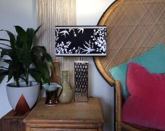 Mid Century Style, Bamboo finish lamp + fabulous Handmade Lampshade