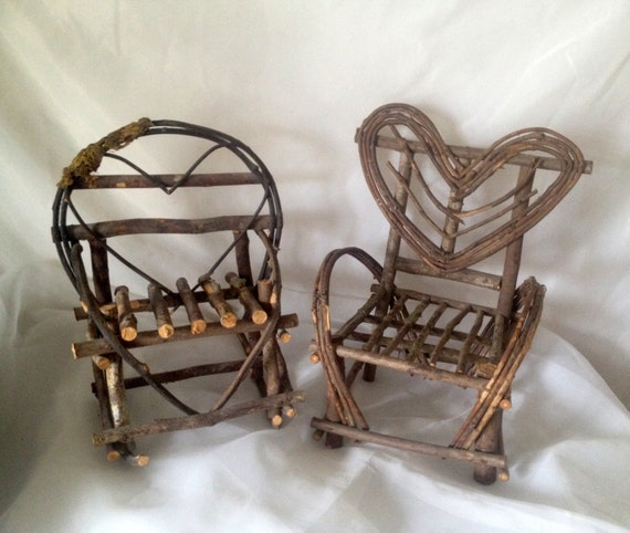 Hand Made Heart Design Twig Chairs, One Armchair, One Rocking Chair ...