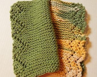 Green Dishcloths, Knit Dishcloths, Cotton Dishcloths, Earth Tones, Knitted Dishcloths, Hand Knit Dishcloths, Kitchen Cloths