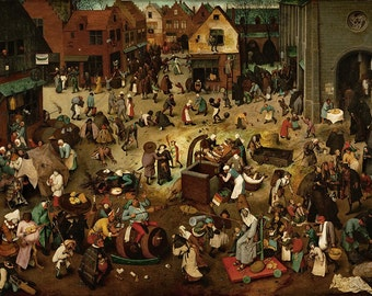 Pieter Bruegel the Elder: The Fight Between Carnival and Lent. Fine Art Print/Poster (00863)
