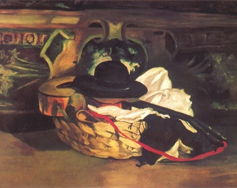 Edouard Manet: Guitar and Hat Still Life. Fine Art Print/Poster (00676)