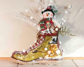 Ramshackles Man Boot Snowman Floral Arrangement Pam'sDeZines Floral Arrangement (Item 278)