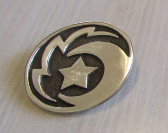 Sterling Silver Star Moon and Lightning Pin