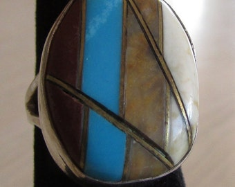 Sterling Silver Inlay Ring Size 4 1/4
