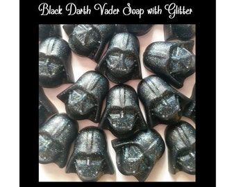 Darth Vader Birthday Favors - Star Wars like black glitter Darth Vader Soap Party Favors for Birthday Party, Scented Kids Soaps, Pack of 25