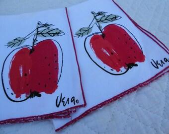 Vintage 1980s Vera Neumann Red Apple 2 Napkin Set Signed