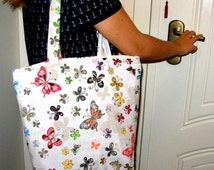 Butterflies Handbag, Butterfly Tote Bag, iPod Tote, Beach Bags Totes, Books Hand Bag, Great Gifts for Girls.