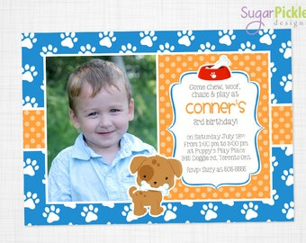 Puppy Photo Invitation, Puppy Invitation, Puppy birthday party, Puppy Party Invitation, First Birthday invitation, Any age Boy Invitation,