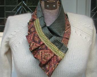 Necktie Necklace - Silk Ascot - Women's Ascot - Repurposed Necktie - Ruffled Ascot