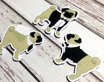 Set of 3 Magnetic Bookmarks/Page Markers. Pug's Night Out