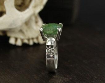 Emerald ring - Skull ring - Dia de la muerte ring - Mexican skull ring - Handmade