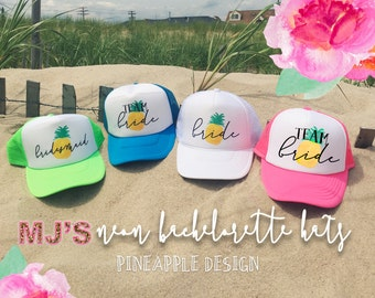 NEON Bachelorette Party Hat / PINEAPPLE Bridesmaid Neon Trucker Cap / Pool Party /Vegas Miami / Beach Vacation / Bridesmaid Hat