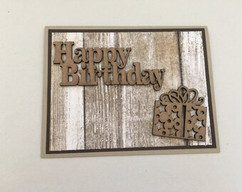 Wooden Accent Birthday Card