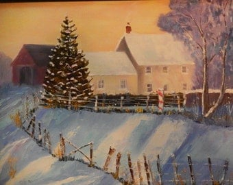 Winter Farmhouse, Coming Home, Oil Painting, Snow Scene, Winter art