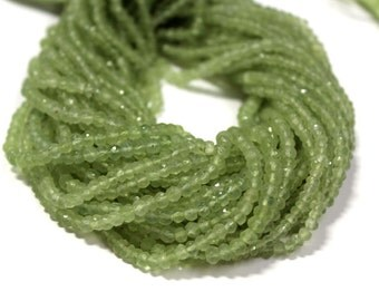 """AAA  prehnite faceted rondelle gemstone beads 13.5""""inches 3.5mm-4mm"""