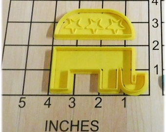 Republican Election Logo Elephant Fondant Cookie Cutter and Stamp #1032