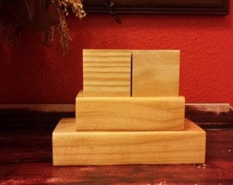 Unfinished Wooden Countdown Blocks Raw Wood Trio Block Stack Plain Bare Wood DIY Crafting Stacking Blocks Wooden Decor Solid Pine
