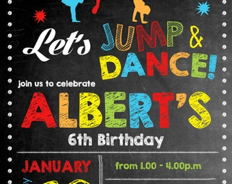 Jump-And-Dance-01 Chalkie Birthday Invitation