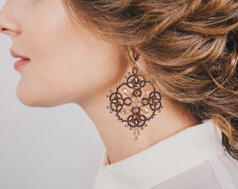 "Tatting Lace earrings ""Elena the beautiful"" French lace handmade earrings evening shuttles"