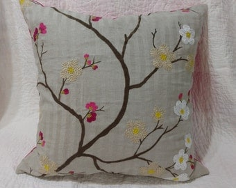 "Linen Pillow Cover 20""x20"" - Embroidered, Applique - Hot Pink - Natural - Blossoms"