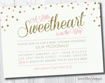 "Valentine's Day Baby Shower Invitation: ""Sweetheart on the Way""; Little Sweetheart Baby Shower Invite, Printable DIY Invitation"