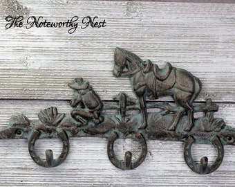 ANY COLOR Praying cowboy hook / horseshoe hook / western hook // horse hook // cast iron hook // barn decor // country decor // cowboy decor
