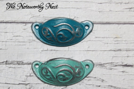Reserved 2 turquoise drawer pulls dresser by for Turquoise cabinet pulls