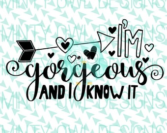Cricut SVG - I'm Gorgeous And I Know It SVG Cut File - So Pretty - Too Cute - Adorable - Arrow Hearts - Silhouette - Cut Files