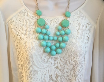 Light Turquoise Aqua Blue Multi Strand Layered Bubble Bib Cascade Beaded Chandelier Statement Necklace