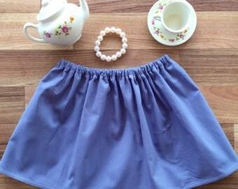 Denim look twirly skirt | sz 000-10 | demin girls skirt, chambray girls skirt, girls twirly skirt, toddler girls skirt