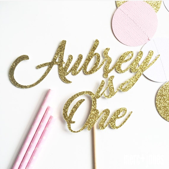 Milestone Birthday | Age + Name | Gold, Silver or Pink Glitter | Gold, Rose Gold or Silver Metallic Cake Topper