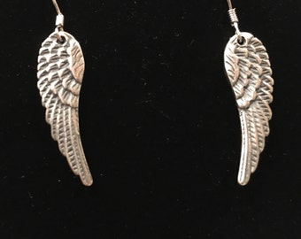 Sterling silver wing earrings Made in the USA