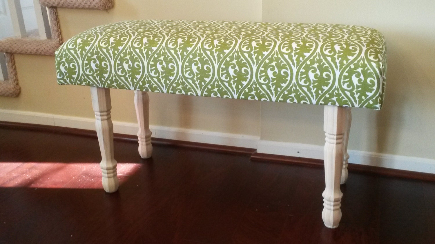 Upholstered bench green and white fabric White upholstered bench