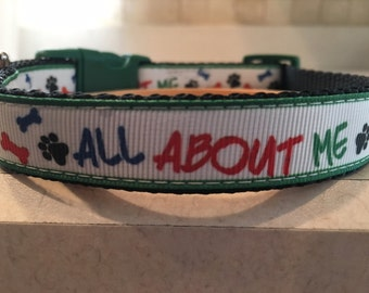 All About Me Small and Medium Dog Collar with Optional Matching Leash