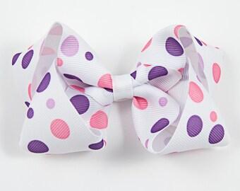 Polka Dot Hair Bow, Spring Hair Bow, Pink and Purple Hair Bow, Spring Hair Bow, Twisted Boutique Hair Bow, Summer Hair Bow (Item #10220)