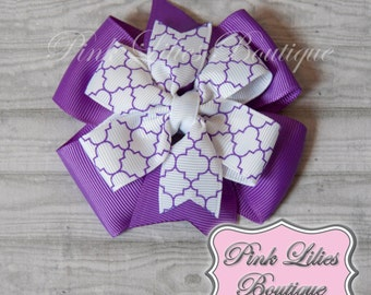 Purple and White Hair Bow - Stacked Pinwheel Hair Bow - Purple Pinwheel Bow - Purple White Pinwheel Hair Clip (Item #10228)