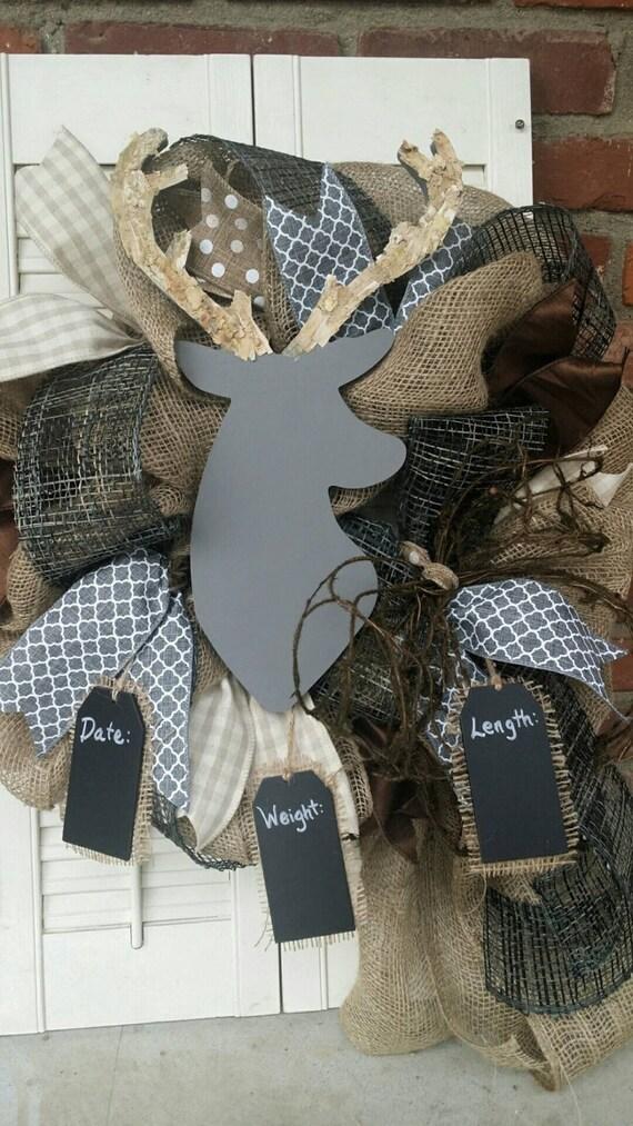 Deer Nursery Decor Gray Deer Wreath Rustic Nursery Woodland