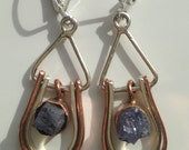 Raw Tanzanite Sterling Silver and Copper Earrings