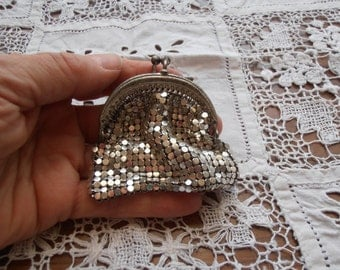 A French vintage silver mesh coin purse