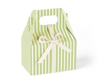 Favor Boxes, Mini Gable, Green Candy-Striped with Ivory Ribbon // set of 8